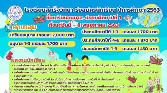 ประกาศรับสมัครนักเรียนเพิ่ม (เลื่อนออกไปวันที่ 8 พฤษภาคม 2563)